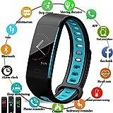 LIGE Fitness Armband,Fitness Tracke Schlafen Pulsmesser Schrittzähler Wasserdicht Farbdisplay Smart Armband Schwarz blau Fitness Uhr für Männer Frauen Kinder Aktivitäts Tracker für Android & IOS