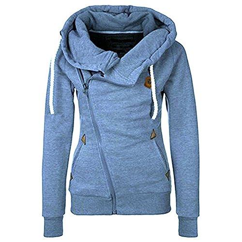 Seamido Damen Seitlicher Reißverschluss Casual Hoodies Langarm Warmes Sweatshirt (Reißverschluss-hoodies)