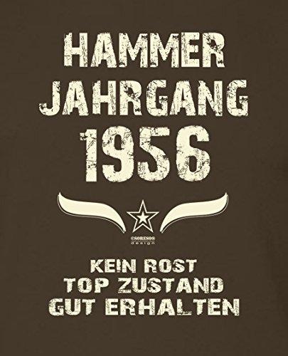 Geburtstagsgeschenk T-Shirt Männer Geschenk zum 61 .Geburtstag Hammer Jahrgang 1956 - auch in Übergrößen - Freizeitshirt Herren Farbe: braun Braun