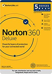 Norton 360 Deluxe |5 Users 1 Year| Total Security for PC, Mac, Android or iOS |Code emailed in 2 Hrs