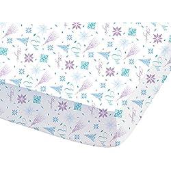 Disney 044705Frozen Arabesque sábana bajera para niños algodón, 190x 90cm, color blanco