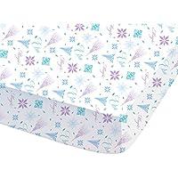Disney 044705Frozen Arabesque sábana bajera para niños algodón, 190x 90cm), color blanco
