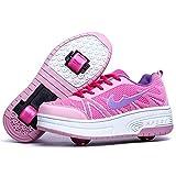 MNVOA Zapatillas con Ruedas,Unisex Niños Deportes al Aire Libre Skateboard Sneaker Automáticamente Retráctiles Zapatos de Roller para Niño y Niña,Pink2wheels,37EU