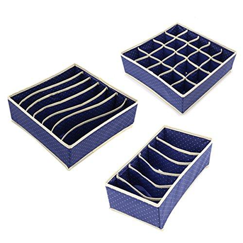 3 Stück Faltbar Unterwäsche Box Multi Kabine Wandschrank Schublade Organisieren zum Gut Socken Handtuch,Wein (Schublade Wein)