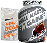 Bigmuscles Nutrition Real Mass Gainer [3Kg, Chocolate] with Free Real BCAA 10 Servings | Lean Whey Protein Mus