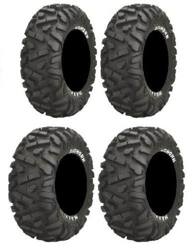 Full set of Maxxis BigHorn Radial 26x9-14 and 26x11-14 ATV Tires (4) by Powersports Bundle (Atv Bighorn Reifen)