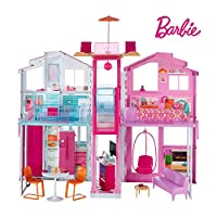 Barbie DLY32 ESTATE Three-Story Town House Colourful and Bright Doll House Comes with Furniture and Accessories, Playset
