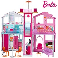 Barbie DLY32 ESTATE Three-Story Town House Colourful and Bright Doll House that Comes with Furniture and Accessories, Playset