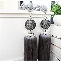 Curtain Clips Tied Band Drapery VS Bead Tiebacks Europe Hand Window Buckles Holdbacks Tassel Ball Rope Home Decor / Set of 2 (Grey)