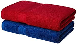 Amazon Brand - Solimo 100% Cotton 2 Piece Bath Towel Set, 500 GSM (Iris Blue and Spanish Red)