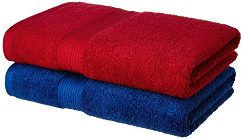 Solimo 100% Cotton 2 Piece Bath Towel Set, 500 GSM (Iris Blue and Spanish Red)