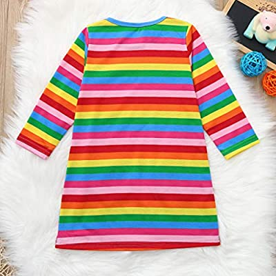 Oyedens Toddler Baby Girls Long Sleeve Cartoon Rainbow Striped Print Dress Clothes : everything 5 pounds (or less!)