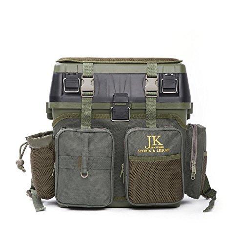 JK Freizeit Angeln Sitz- und Ausrüstungsbox, für alle Arten des Angelns, mit Schultergurt, Grün inkl. einem Angeln Multitool und wasserdichte Ausrüstung Tasche