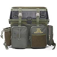 JK Leisure - Maletín de pesca con múltiples compartimentos y asiento, 38 x 23 x 37 cm