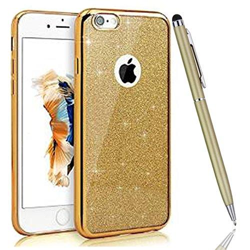 iPhone 6 Plus Hülle,iPhone 6S Plus Bling Case - Felfy Luxe Ultradünnen Weich Silikon TPU Silikon Handy Hülle Schutzhülle Durchsichtig Bling Glitzer Sparkles Shiny Case Kratzfest Bumper Soft Rückseite  Überzug Golden