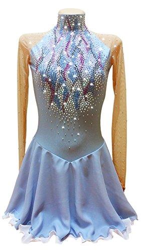Handarbeit Eiskunstlauf Kleid Für Mädchen Frauen, Professionel Eislauf Kleid Wettbewerb Professionel Kostüm Langärmelig Rollschuhkleid Blau mit Gute Qualität (Eiskunstlauf Kostüme Über Die Jahre)