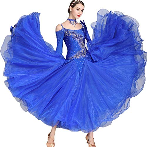 Frauen-Walzer-Modern Dance Competition Dress Long Sleeve , Nationales Standard-Ballsaal-Leistungsrhinestone-Kostüm (Farbe : Royal Blue, größe : M)