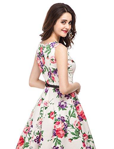 EnjoyBridal®Rétro Robe Imprimé Style Sans Manche Robe de Soirée/Cocktail Femme Rockabilly Swing Vintgae Année 50 Fleur Rose