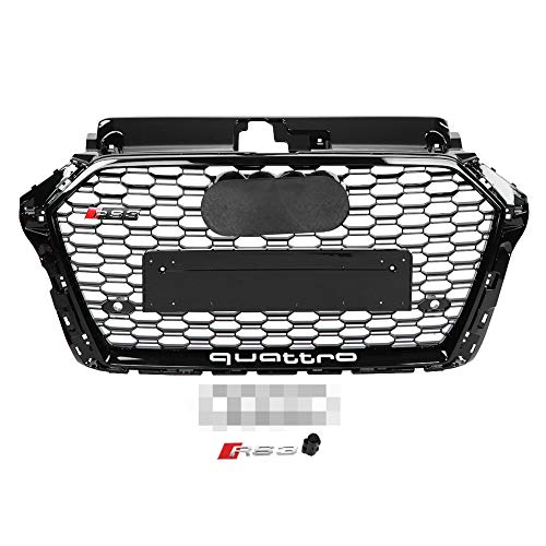KIMISS RS3 Style Front Sport Hex Mesh Honeycomb Hood Grill Negro brillante para A3 / S3 8V 17-18