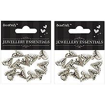 Itsy Bitsy Metal Jewelry Findings 2 Petal Flower Cap Spacers, Pack of 2