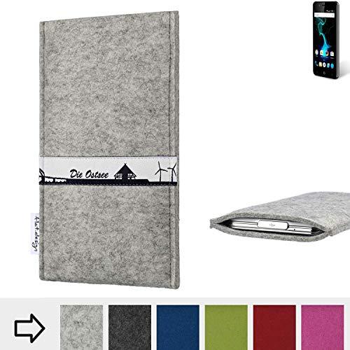 flat.design für Allview P6 Pro Schutz Hülle Handy Case Skyline mit Webband Ostsee - Maßanfertigung der Schutztasche Handy-Tasche aus 100% Wollfilz (hellgrau) für Allview P6 Pro