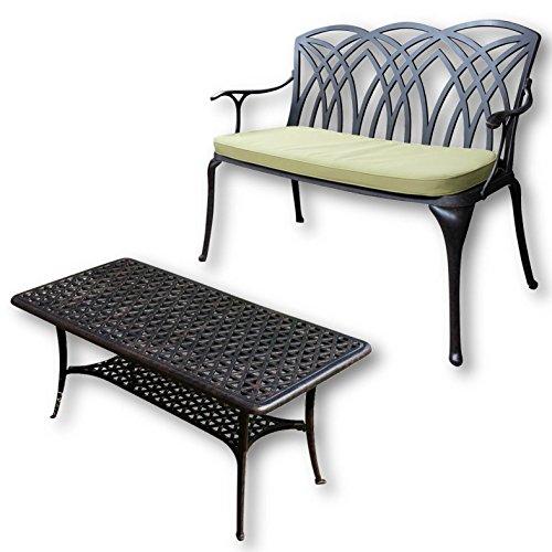 Lazy Susan - CLAIRE Rechteckiger Garten Beistelltisch mit 1 APRIL Gartenbank - Gartenmöbel Set aus Metall, Antik Bronze (Grünes Kissen) (Beistelltisch-set Antik)