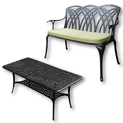 Lazy Susan - CLAIRE Rechteckiger Garten Beistelltisch mit 1 APRIL Gartenbank - Gartenmöbel Set aus Metall, Antik Bronze (Grünes Kissen) (Bronze Set Beistelltisch)
