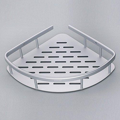 Pointth Práctico Aluminio de una sola capa Ángulo del baño Estantes del baño Trípode del inodoro Estantes del baño Cesta de la esquina Marco de la esquina Trípode Cesta de una sola capa Estantes de lavado (tamaño: L22 * W22 * H5.3cm)