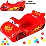 Unbekannt Bällepool / Kugelbad -  Disney Cars - Lightning McQueen / Auto  - incl. Name - mit 10 Stück Bälle - 1,1 m - Pool aufblasbar - für INNEN & AUßEN - Bällebad /..
