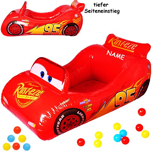 Bällepool / Kugelbad -  Disney Cars - Lightning McQueen / Auto  - incl. Name - mit 10 Stück Bälle - 1,1 m - Pool aufblasbar - für INNEN & AUßEN - Bällebad /.. ()