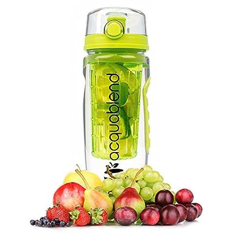 Acquablend Premium 900ml Jumbo Frucht Einflößer Wasserflasche. Erstellen Sie Ihre eigenen natürlich aromatisierte mit Früchten infundiertem Wasser, Saft, Eistee & Sekt Getränke. Ideal für Ihr Büro und zu Hause - Grün