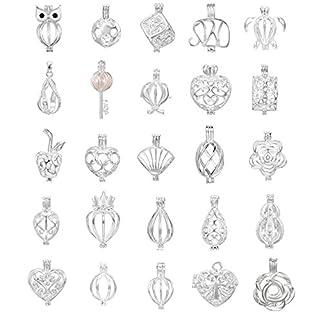 100Mix Schmuck-Herstellung, versilberte Perle Käfig Anhänger–hinzufügen Ihre eigene Perlen, Steine, Rock, zu Käfig, Parfüm Ätherische Öle hinzufügen um ein Duft streuendem Anhänger Charms