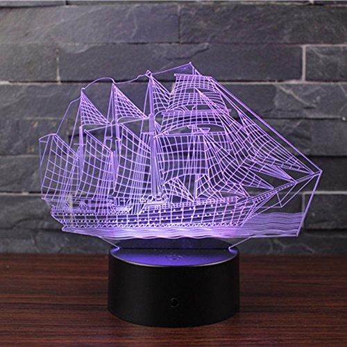 3D Optische Illusions-Lampen NHsunray LED 7 Farben Touch-Schalter Ändern Nachtlicht Für Schlafzimmer Home Decoration Hochzeit Geburtstag Weihnachten Valentine Geschenk Romantische Atmosphäre (Segelboot) (Fernbedienung Segelboot)