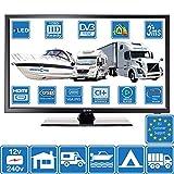 Barco CARAVANAS AUTOCARAVANAS 12V 24' Pulgada (61 cm) LED Digital TV DVB-T2 (Libre TV) TDT y DVB-C HD TV USB de 12 voltios PVR por OnSaCo