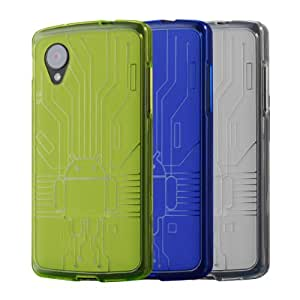 Cruzerlite Green/Blue/Clear Bundle of 3 Bugdroid Circuit TPU Case for LG Nexus 5 - Carrying Case - Retail Packaging - Green/Blue/Clear