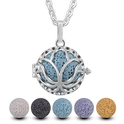 a34113ac5 INFUSEU Aromatherapy Essential Oil Diffuser Fragrance Women Necklace,  Silver Plated Lotus Perfume Locket Aroma Pendant