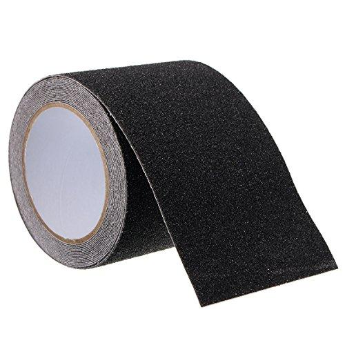 SAFETYON Antirutsch Klebeband wasserfest innen-außenbreich, Antirutsch Streifen mit Selbstklebend für Treppen Teppich Beläge Stufen, L 5m : B 10cm schwarz