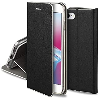 Moozy Hülle für iPhone 7 / iPhone 8, Schwarz PU-Leder - Elegant metallischer Kantenschutz Klapphülle Handyhülle mit Kartenfach und Standfunktion