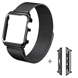 Apple Watch Series 3 Band, Ibazal Apple Watch Strap 38mm Protective Case Upgraded Milanese Stainless Steel Replacement Band Magnetic Closure Clasp Iwatch Strap For All 38mm Apple Watch Series 3 & Series 2 & Series 1 & Sport & Edition Version - Black 38mm