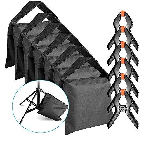 Neewer 6 Stück Schwer Duty Sandsack (schwarz) für Fotostudio Lichtständer Auslegerarme mit 6 Stück Hintergrund Klemmzwingen (leeren Sandsack)