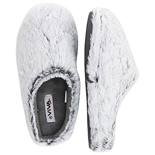 Damen Hauspantolette Flausch Pantoffeln Schlappen - Fraben: Dunkelblau, Grau und Beige - Größen: 36-42 - von Brandsseller Grau