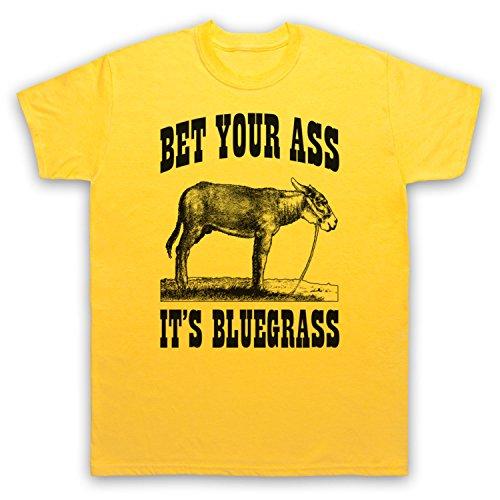Bet Your Ass It's Bluegrass Slogan Herren T-Shirt, Gelb, Large
