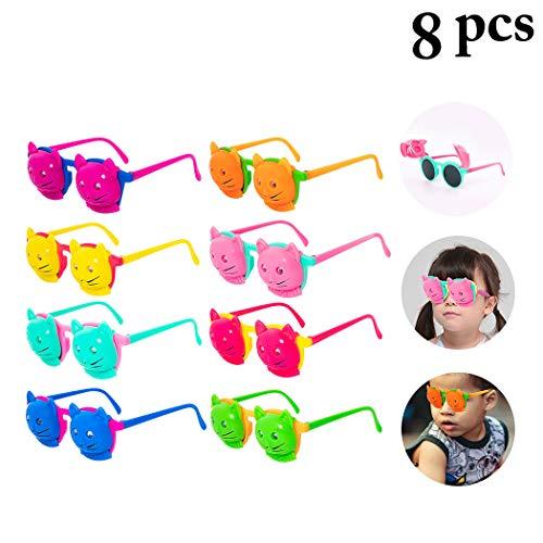 ille, 8 Paar Neuheit Kinder Sonnenbrille Katze Flip Cover für Geburtstagsfeierartikel, Strand, Pool Party Favors Fancy Dress Party Supply Perfekte hawaiianische Brillen für Kinder ()