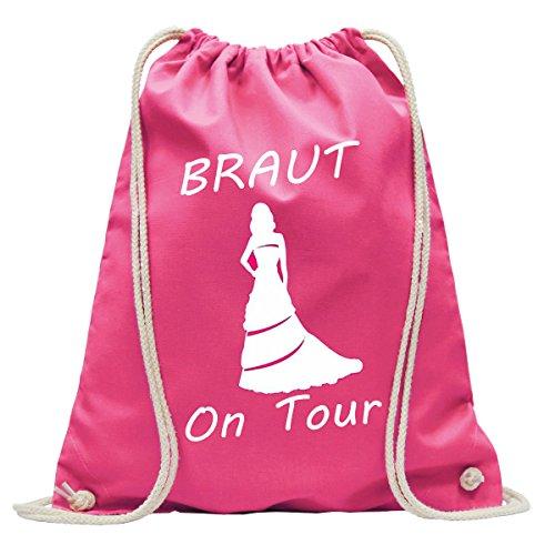 Junggesellinnenabschied Braut on Tour JGA | Handtasche | Turnbeutel | Rucksack | Hipster Turn-Beutel |Rucksack-Beutel | Gym-Bag | Tasche | Sport-Beutel | Jute (Pink)