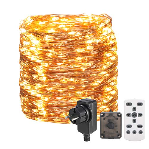 Lichterkette Außen 30M 300 LED Lichterkette Draht aus Kupferdraht,OxyLED 8 Modi IP65 Wasserdicht mit Fernbedienung Lichterkette Steckdose Dimmbar Lichterkette Außen/Innen für Zimmer,Weihnachten,Party