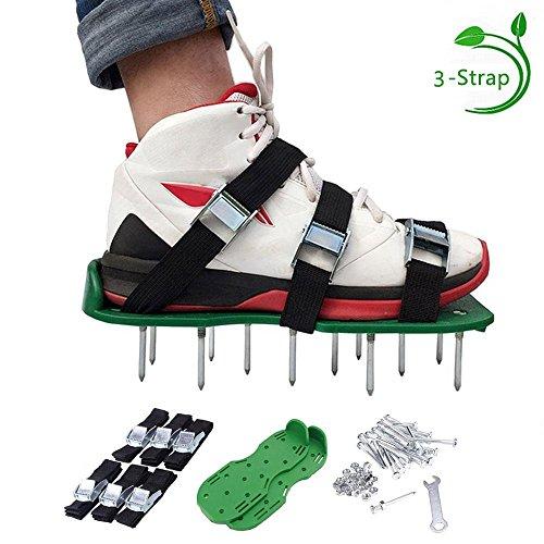 Pawaca Rasenbelüfter Schuhe, 1Paar Größe universal Rasen Belüften Spike Schuhe mit 6Riemen und robuste Metall Schnallen für Belüften Ihren Garten Rasen oder Hof ()