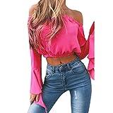 PAOLIAN Damen Mode Frauen Sommer Chiffon weg vom Schulter Tops Sommer Shirts Bluse (S, Hot Pink)