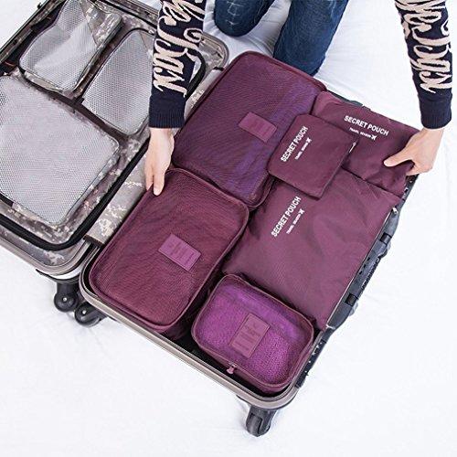 Preisvergleich Produktbild leoboone Koreanische Art Portable Durable Eco-Friendly 6 Stück / Set Square Travel Home Gepäck Aufbewahrungsbeutel Kleidung Organizer Pouch Case,  weinrot
