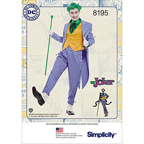 Simplicity 8195 DC Comics Herren Joker Halloween und Cosplay Kostüm, Größen 38-44