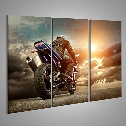 Bild Bilder auf Leinwand Man Sitz auf dem Motorrad unter Himmel mit Wolken Verschiedene Formate ! Direkt vom Hersteller ! Bilder ! Wandbild Poster Leinwandbilder ! FWA